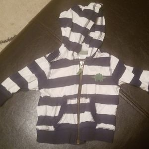 Carters hoodie blue and white striped 3m